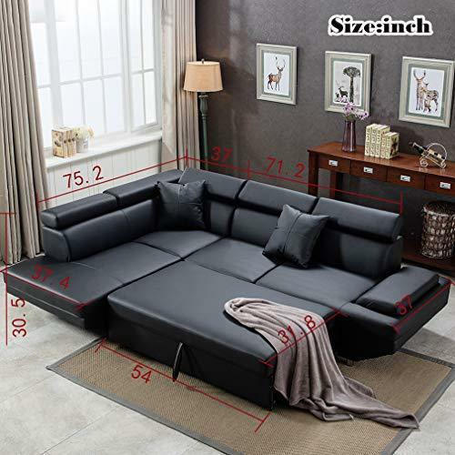 2PC Sleeper Sectional Sofa R Black Faux Leather Corner Sofa Bed ...