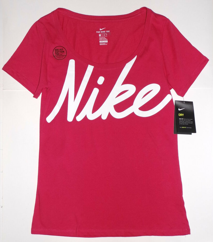 6205fdbc Details about Nike DRI-FIT Womens Training Script Tee Shirt Sizes XS, S, M,  L Pink/White