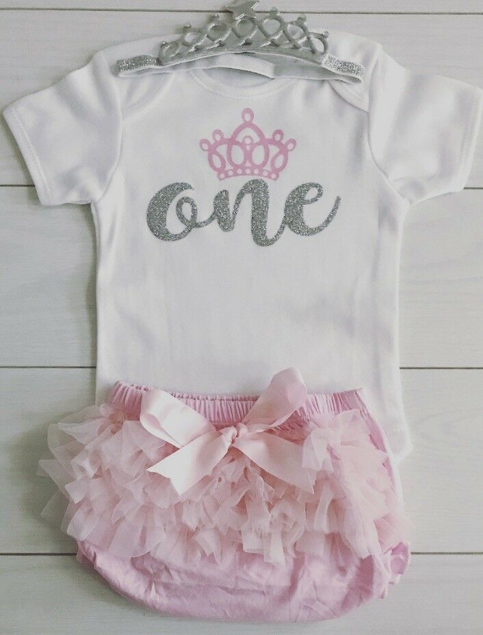 Details About Baby Girls Cake Smash First 1st Birthday Outfit Tutu Knickers Pink Tiara Set One
