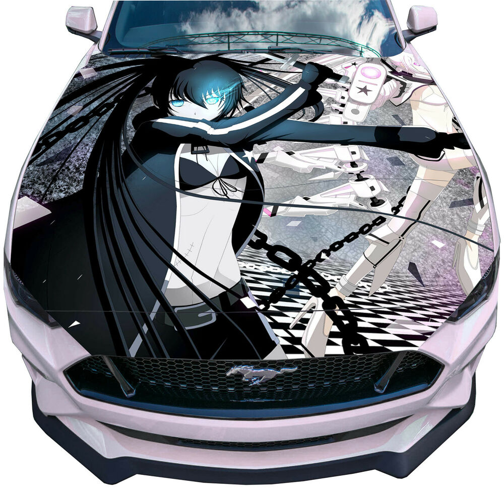Details about vinyl decal anime girl car hood full color graphics black rock shooter sticker