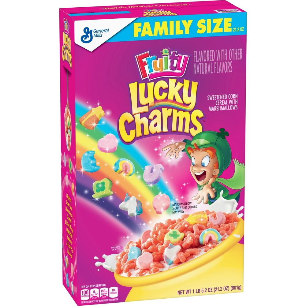 62230399142f Details about NEW GENERAL MILLS FAMILY SIZE FRUITY LUCKY CHARMS CEREAL 21.2 OZ  BOX MARSHMALLOW