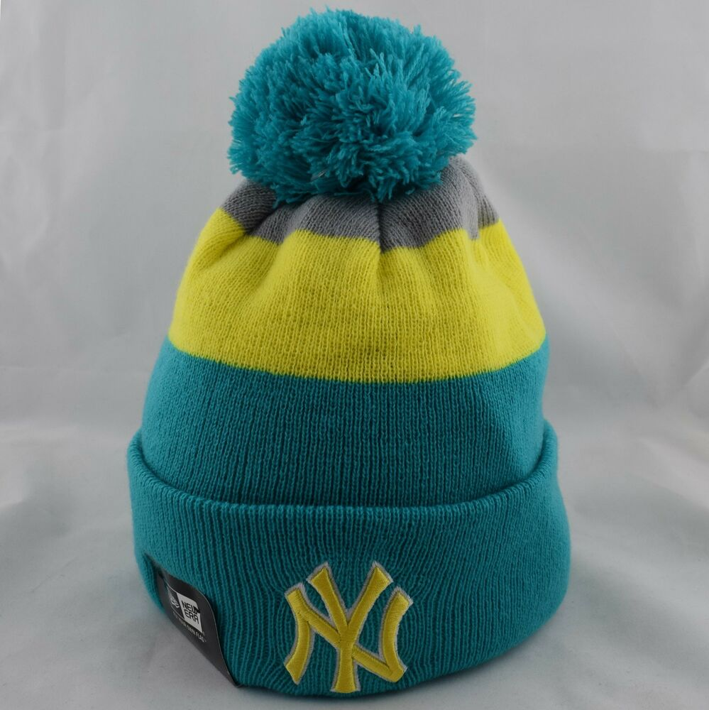 387cdf3a7be Details about New Era New York Yankees Block Stripe Bobble Winter Knit Beanie  Hat