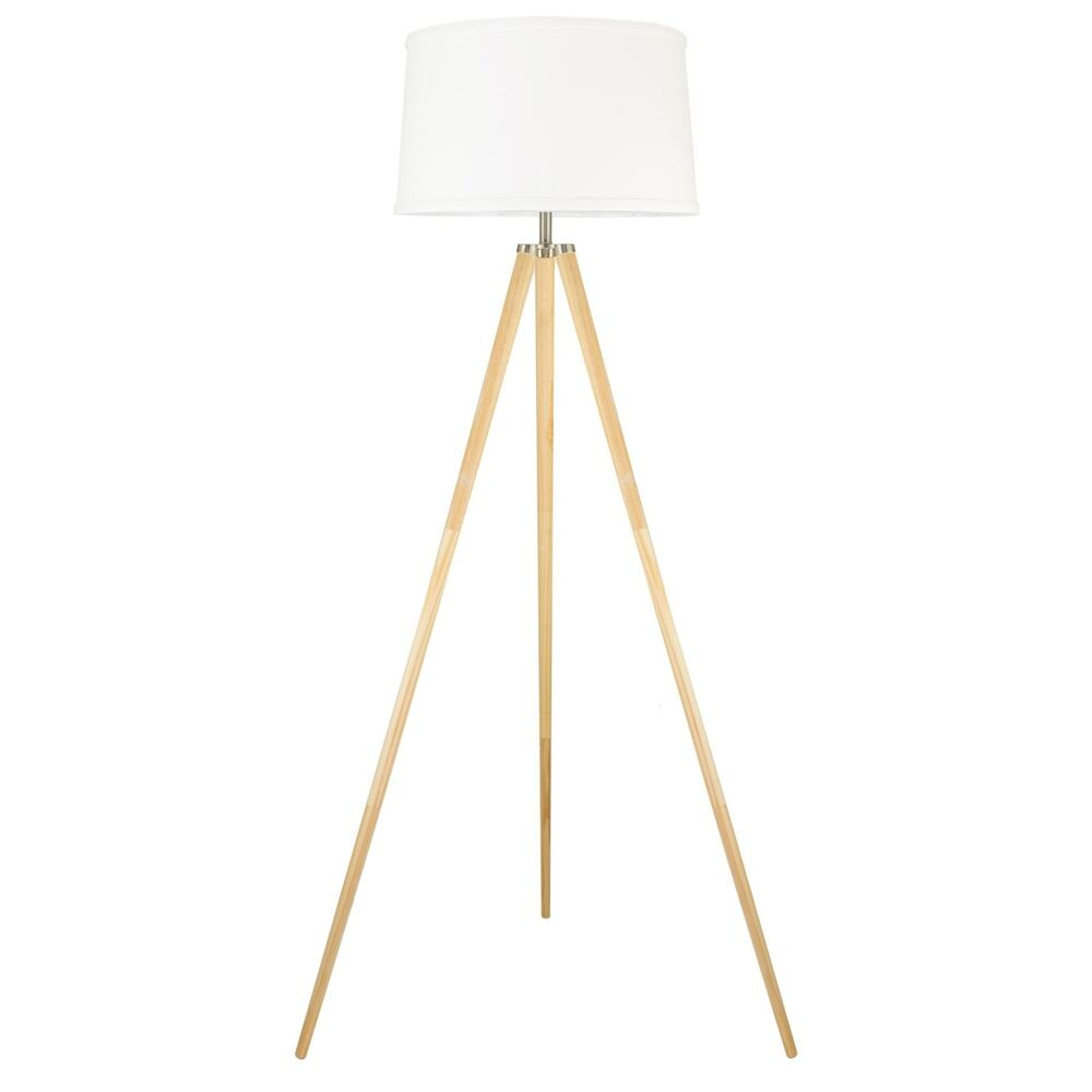 Revel Grace 60 5 Contemporary Wooden Tripod Floor Lamp With White