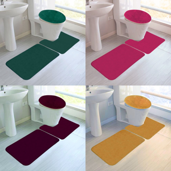 3PC SET SOFT BATHROOM BATH RUG CONTOUR MAT TOILET LID COVER SOLID PLAIN COLORS