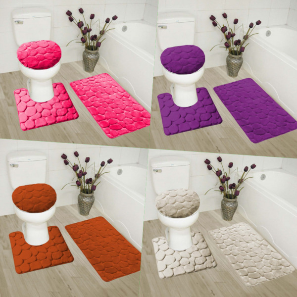 3PC SET SOFT BATHROOM BATH RUG CONTOUR MAT TOILET LID COVER SOLID CARVED DESIGN