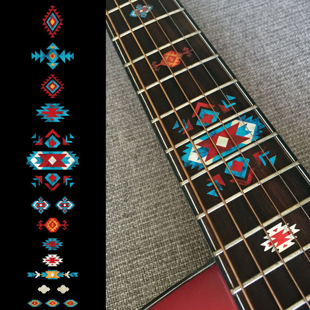 Details about inlay stickers fret markers for guitar native american style ethnic turquoise