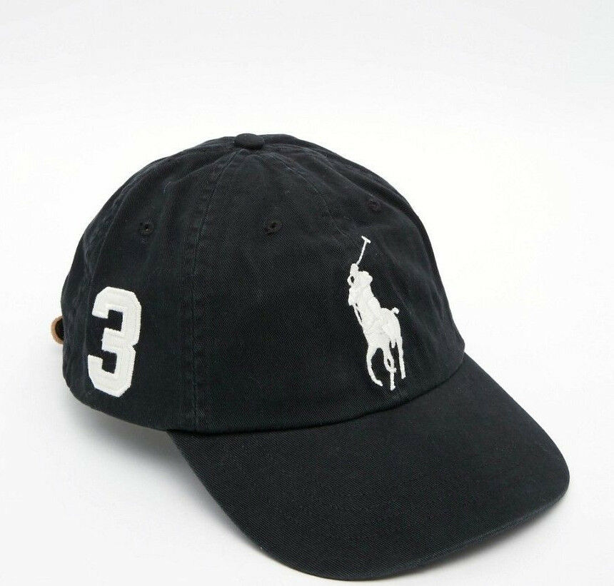 3393a45a NEW! Black/White POLO Adult Hat Ralph Lauren BIG PONY Classic Sport ...