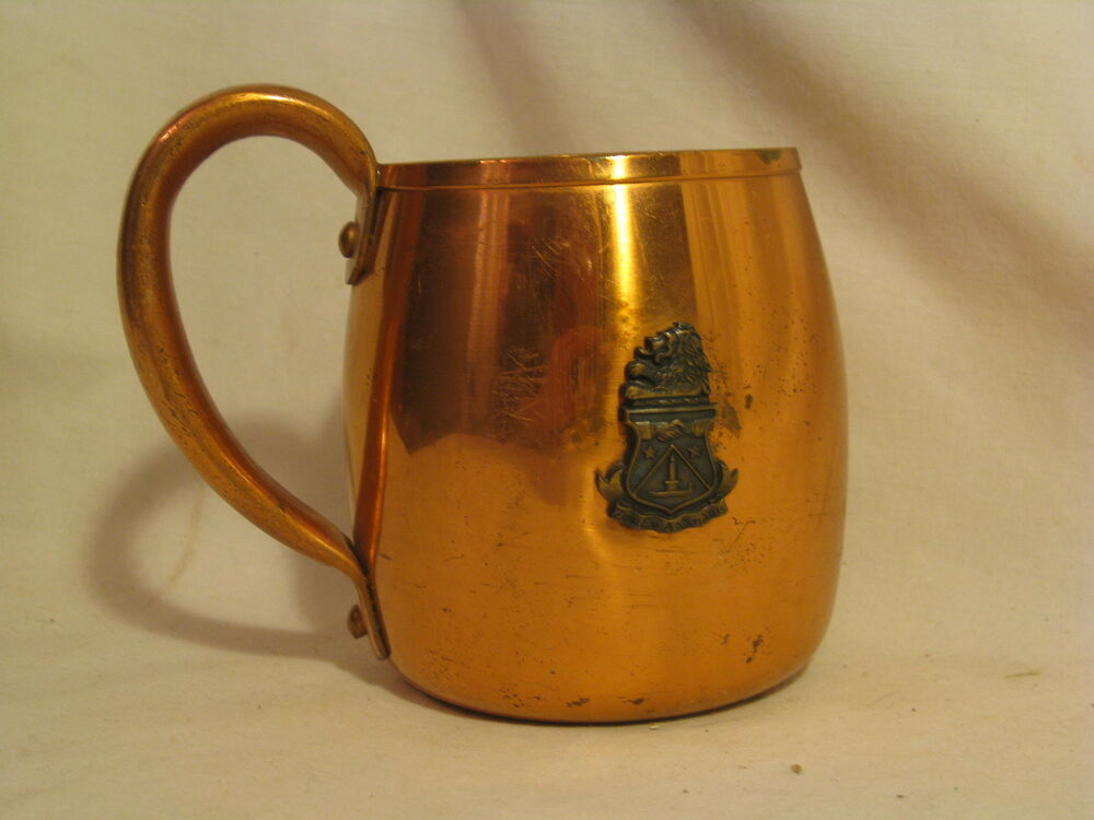 Details about vintage Solid Copper West Bend cup engraved + ornate lion  Greek ? coat of arms