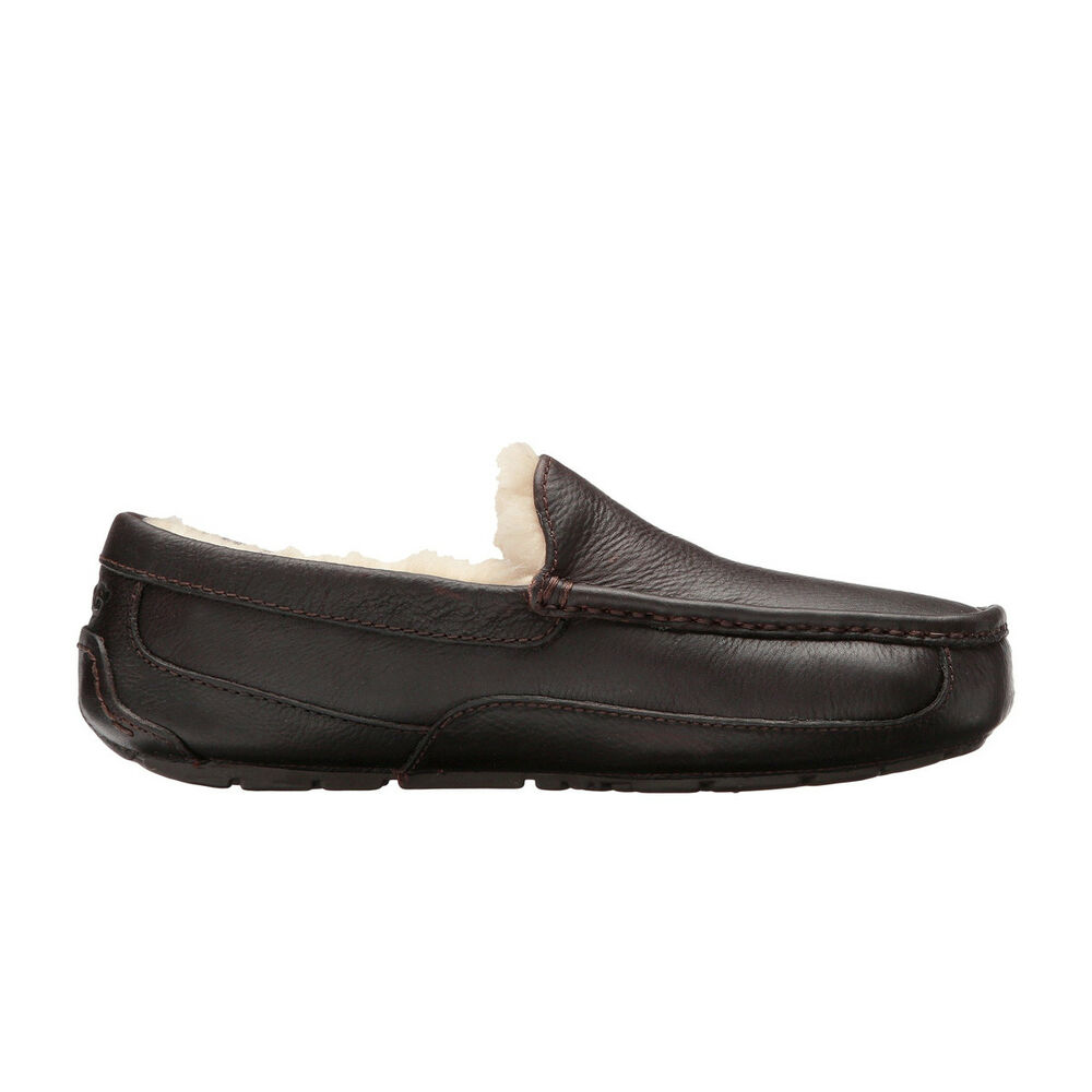 00aaa51a075b Details about UGG Men s Ascot Slippers Black Leather China Tea Leather SIZE  8-12 STYLE5775