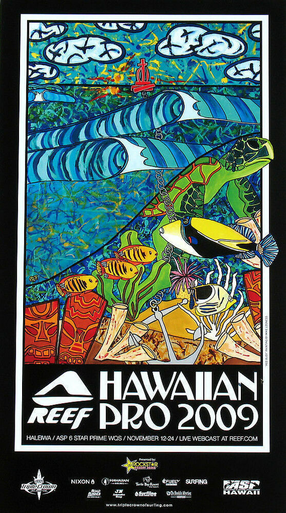 c631cd0a63 Details about Mint Rare 2009 Reef Hawaiian Pro Surfing Official Surf  Surfboard Art Poster