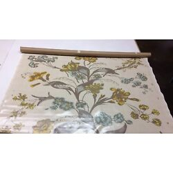 CHRISTOPHER FARR CLOTH FLOWER SHOW HONEY LAMINATED COATED FABRIC 1 YARD 52''W