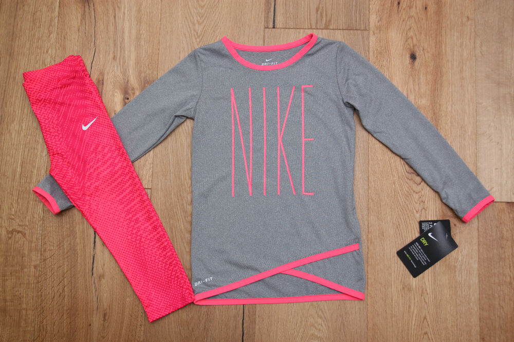16adaabec76a5 Details about Nike Toddler Girl Long Sleeve Shirt and Leggings Set ~  Dri-Fit ~ Pink & Gray