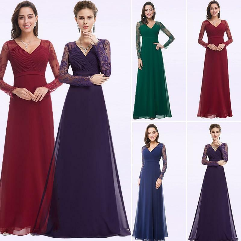 Women Evening Dresses Chiffon Lace Long Sleeve Plus Size Gowns | eBay