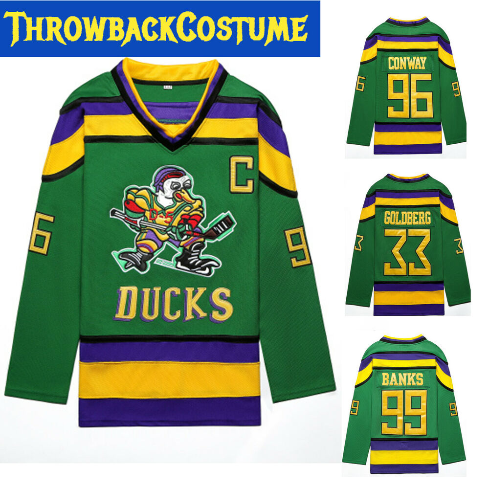 Details about D1 The Mighty Ducks Hockey Jersey  33 44 66 96 99 Charlie  Conway Banks Goldberg. US STOCK 6cad01ca8