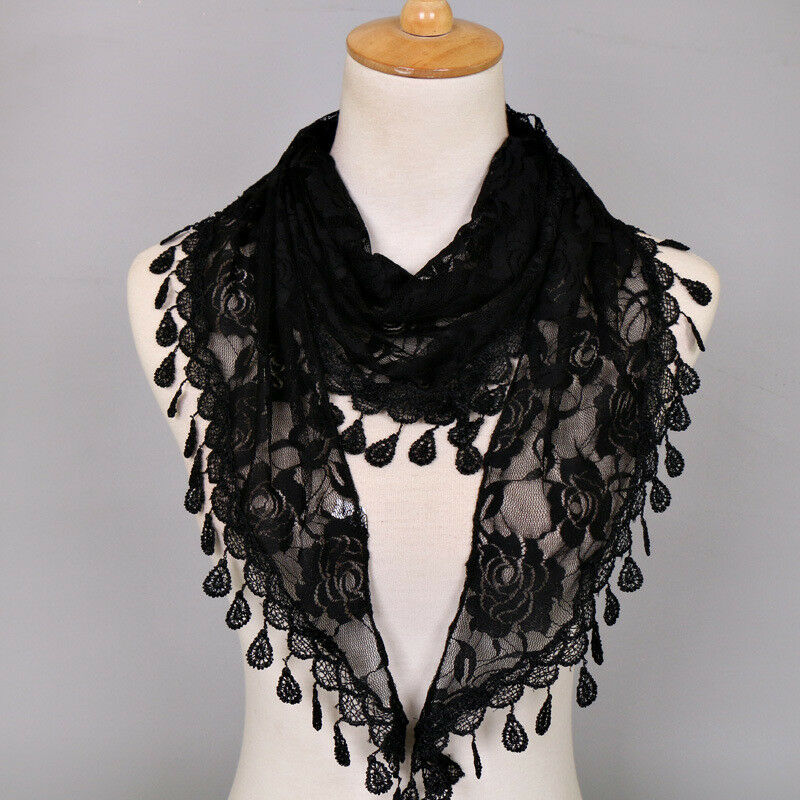 274e4787f7940 Details about Pretty Lace Hollow out Fichu Elegant Triangle Scarves  Lightweight Shawls Gifts