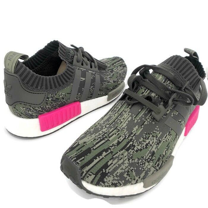 1cb9c7de96708 Details about Adidas NMD R1 PK Primeknit Utility Grey Camo Shock Pink Size  12 NEW WITH TAGS