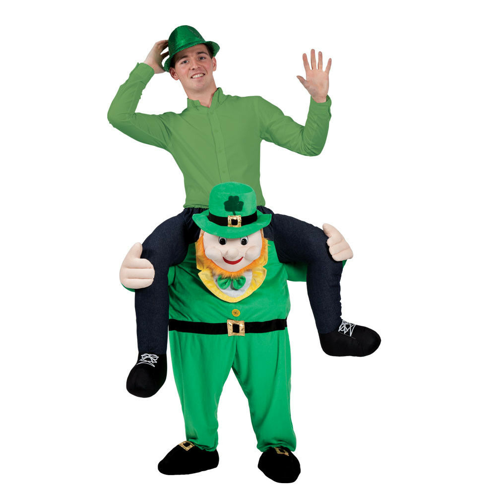 Details about Adult LEPRECHAUN Carry Me Fancy Dress Costume Mascot St  Patricks Day Irish Funny