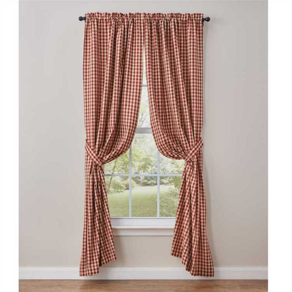 Details About Farmhouse Country Crochet Gingham Lined Panel Curtains 72wx84l Red Tan Check