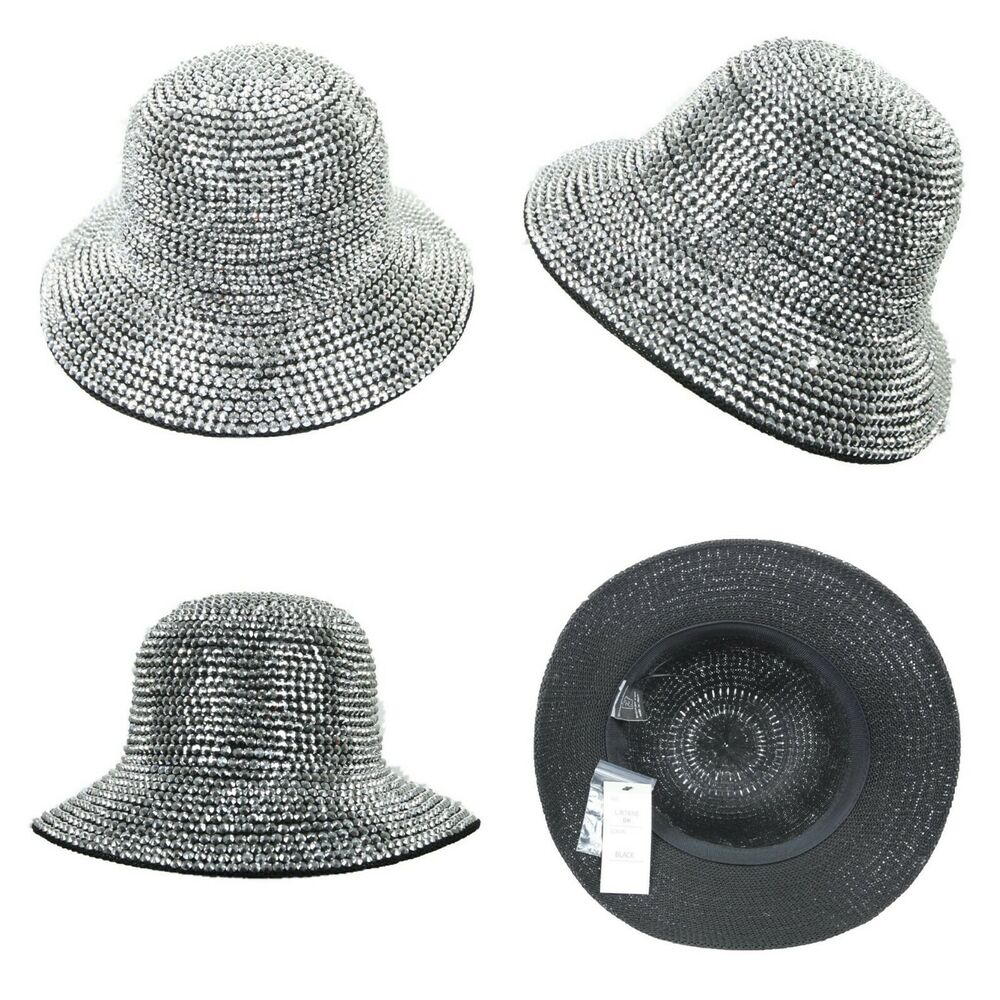 51898f61e34bc Details about Rhinestone Studded Bucket Hat Bling Bling Hat Hip Hop Caps  Fashion Hats Headwear