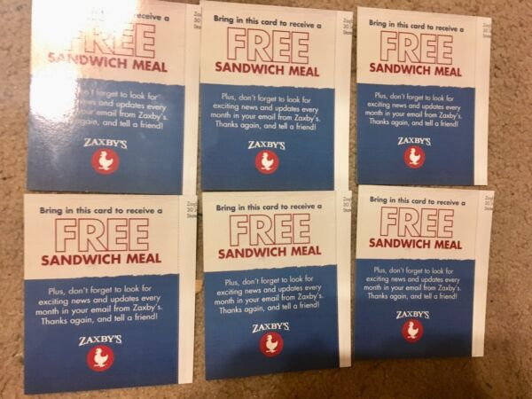 (6) Zaxby's Sandwich Club Combo Meal Gift Certificates Vouchers No Expiration