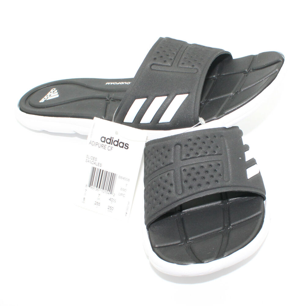 243aadbb0a61 Details about ADIDAS Adipure Soft Cloudfoam Foot Bed Black   White Slides - Size  8