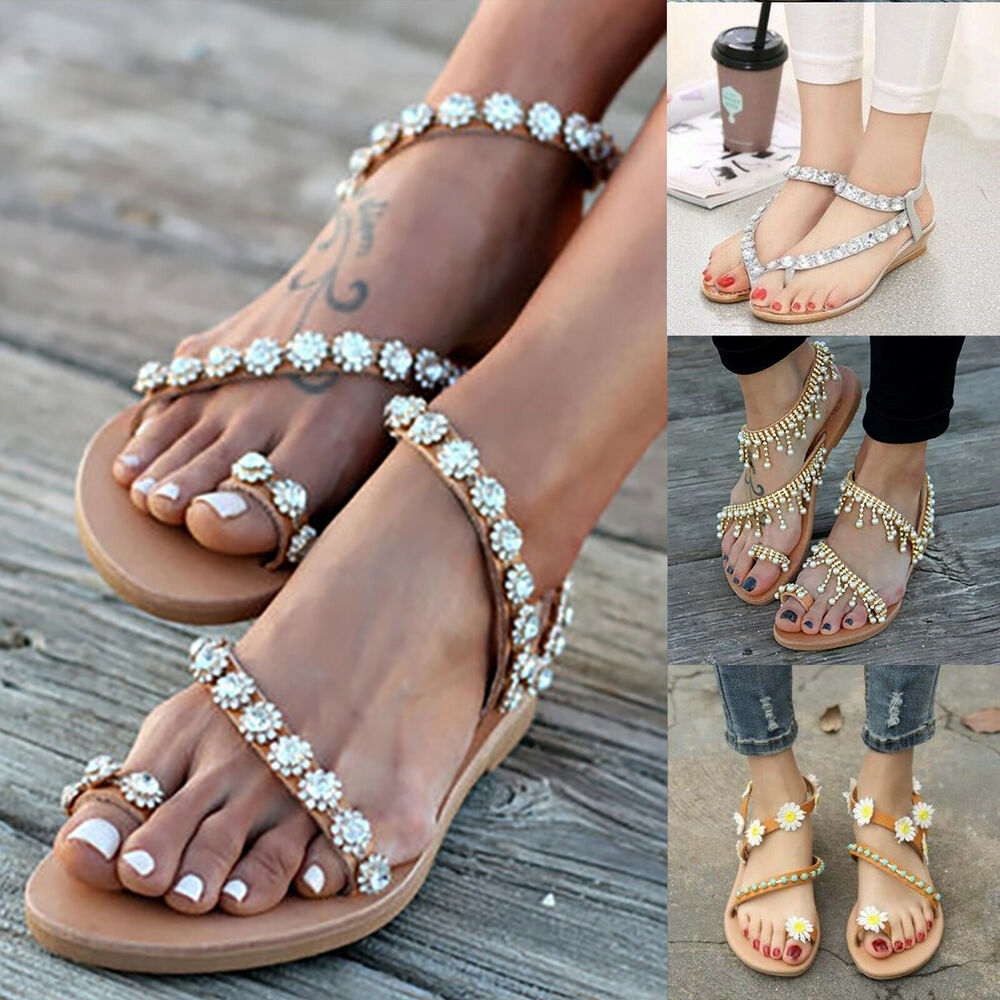 55224ee12335 Details about Women Bohemian Flat Sandals Toe Ring Rhinestone Tassel Summer  Beach Casual Shoes