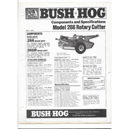 original-bush-hog-model-model-266-rotary-cutter-component-specifications-sheet