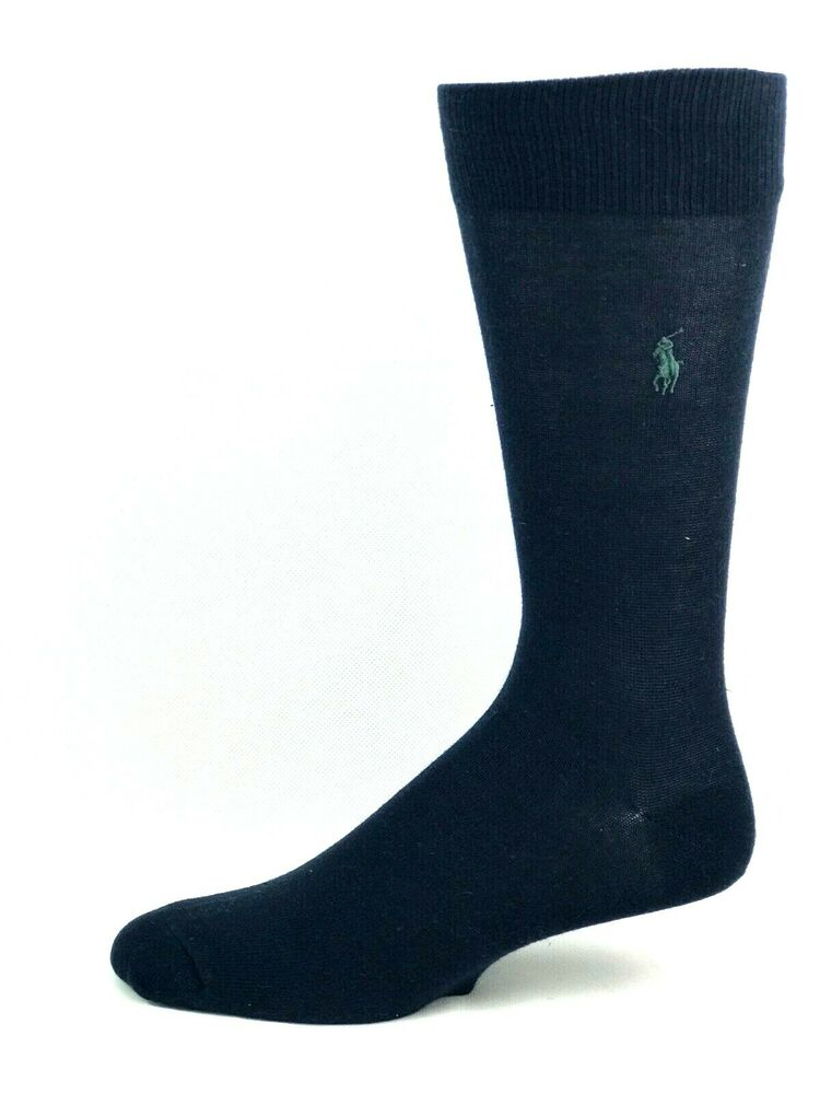 Details about Polo Ralph Lauren Navy Blue Crew Dress Socks with Green Gray  Logo 095f422e964e