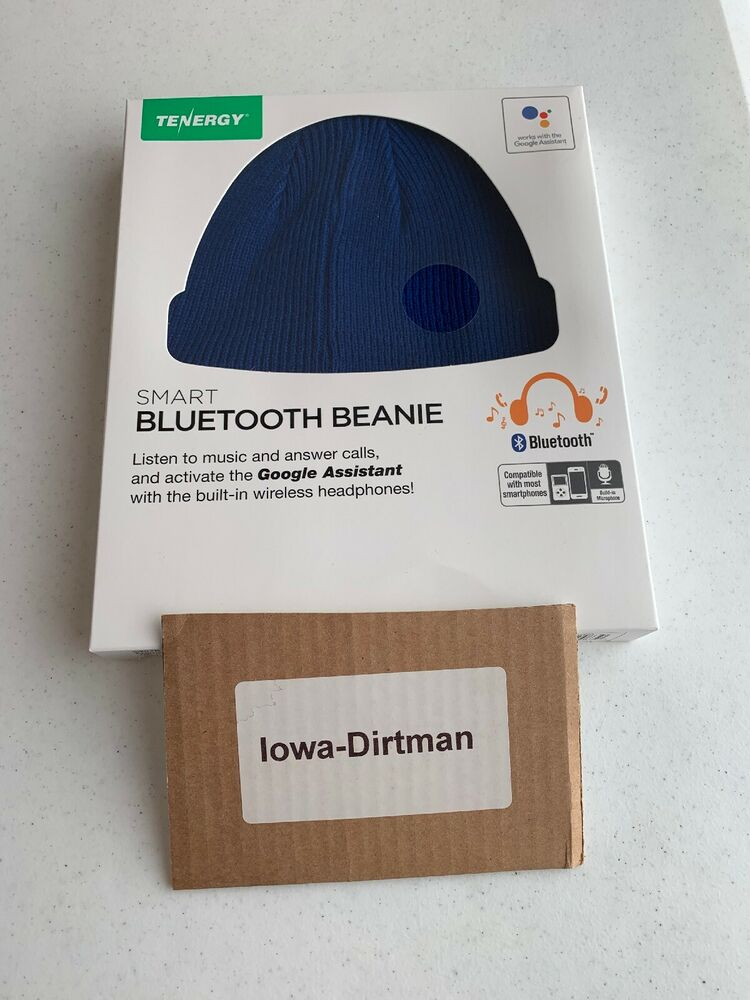 1581f47cb05 Tenergy Wireless Bluetooth Beanie Hat Speakers   Side Control Blue New In  Box