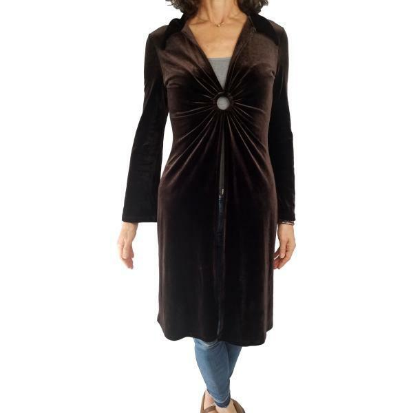 35d6171dcef Details about MOA MOA XS S Fit dark brown dramatic duster kimono open front  topper dressy top