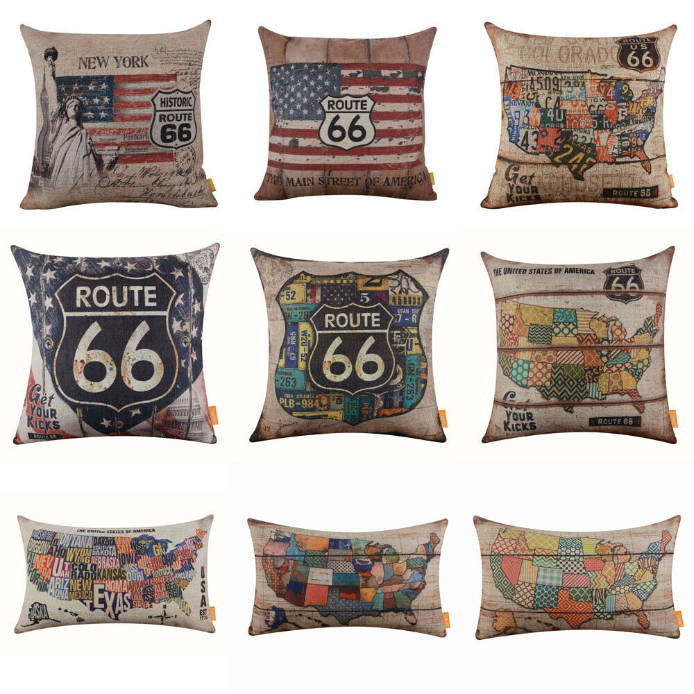 American Country Route 66 Pillow Covers Usa Map Car Plate Cushion