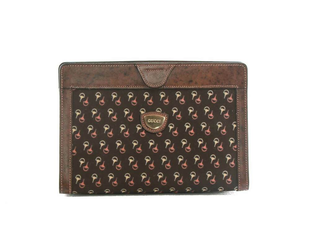 b96ef62da7be2b Details about Authentic 80s Vintage Gucci brown toiletary clutch horsebit  print canvas
