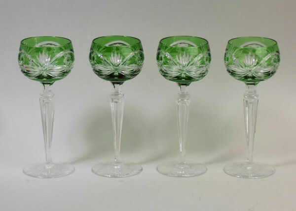 A FINE SET OF FOUR BOHEMIAN GREEN FLASHED & CUT CRYSTAL HOCK GLASSES