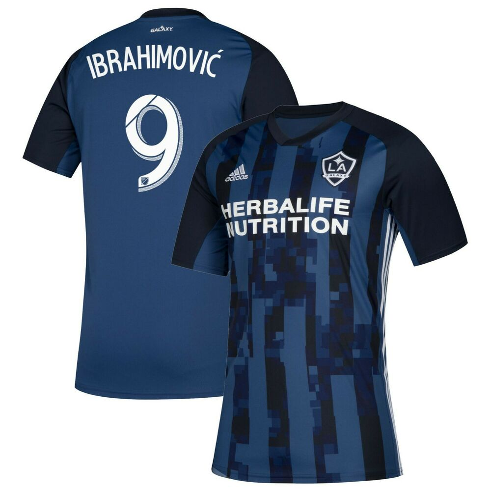 1c9c7dbf2e9f Details about adidas Los Angeles LA Galaxy MLS 2019 Ibrahimovic   9 Soccer  Away Jersey Navy