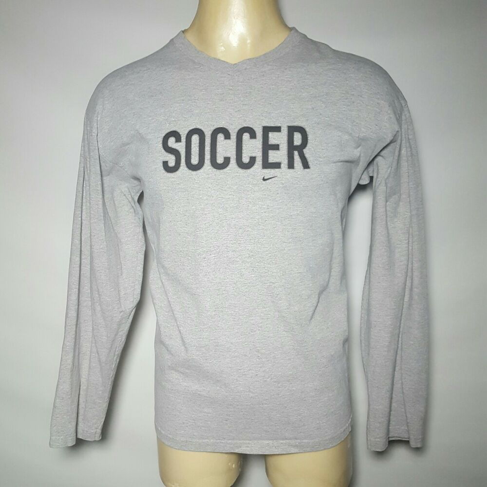 Details about Vintage Nike Made USA Soccer Gray Pullover Long Sleeve T-Shirt  Extra Large XL e0bc82a22