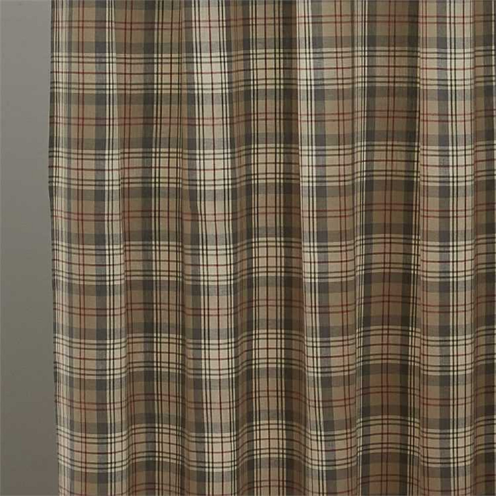 Taupe Gray Tan Red Cream Plaid Gentry Fabric Shower Curtain By
