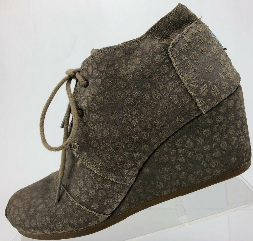ae937585133 Details about Toms Wedge Ankle Boots Lace Up Brown Suede Espadrille Desert  Booties Womens 9