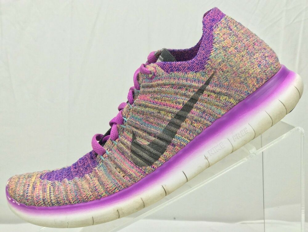 reputable site ff664 8e2c7 Details about Nike Free RN Flyknit Marathon Running Shoes Sneakers - Womens  7.5 Purple Black