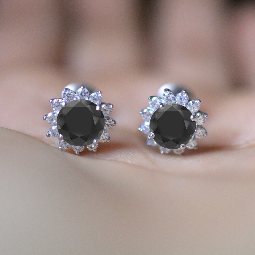 d121d478fd Details about 14K WHITE GOLD FN 925 STERLING SILVER FLOWER HALO ROUND STUD  EARRINGS BLACK CZ