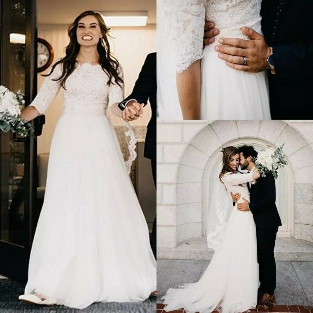Simple Country Wedding Dress Half Sleeve Plus Size Beach Boho Bridal ...