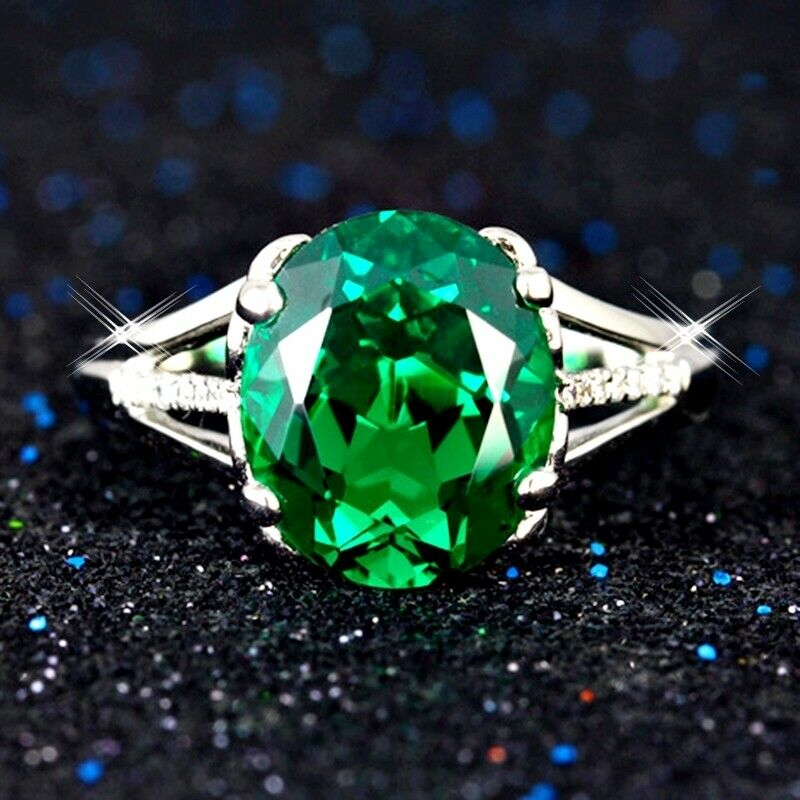 5bed0e7cc Details about Woman Luxury Oval Emerald Made With Swarovski Crystal 18K  White Gold Filled Ring