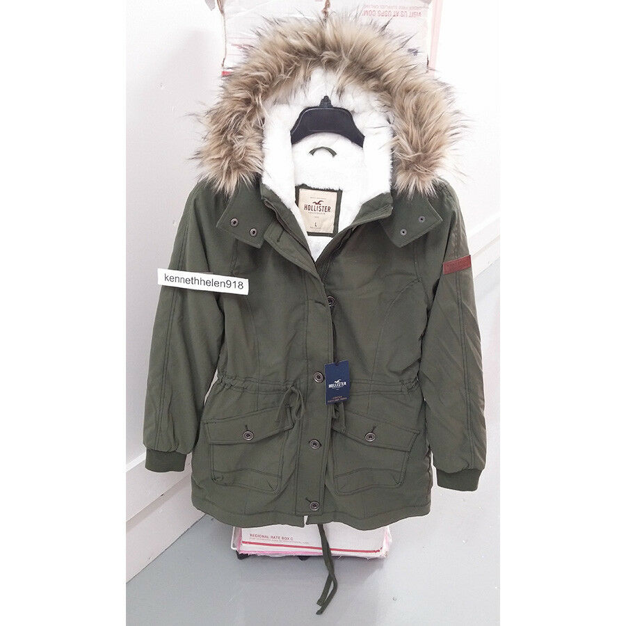 a32ff624a HOLLISTER WOMENS STRETCH COZY LINED PARKA JACKET COAT OLIVE SIZE ...