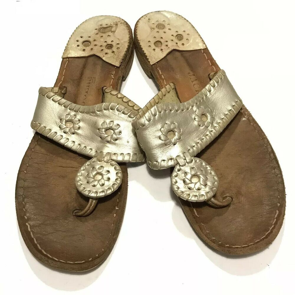 b46ad58eabd1a Details about Jack Rogers Sandals Women s Size 7 Gold Leather Medallion  Thongs