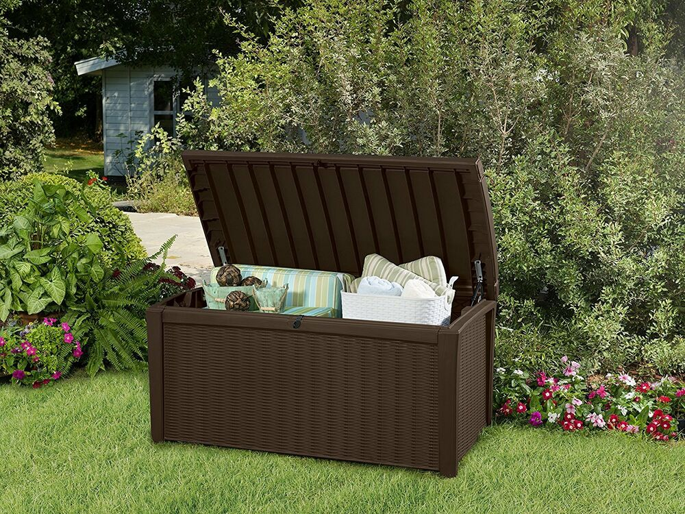 Details About Outdoor Storage Bench Garden Pool Deck Box Rattan Brown Patio Furniture 110 Gal