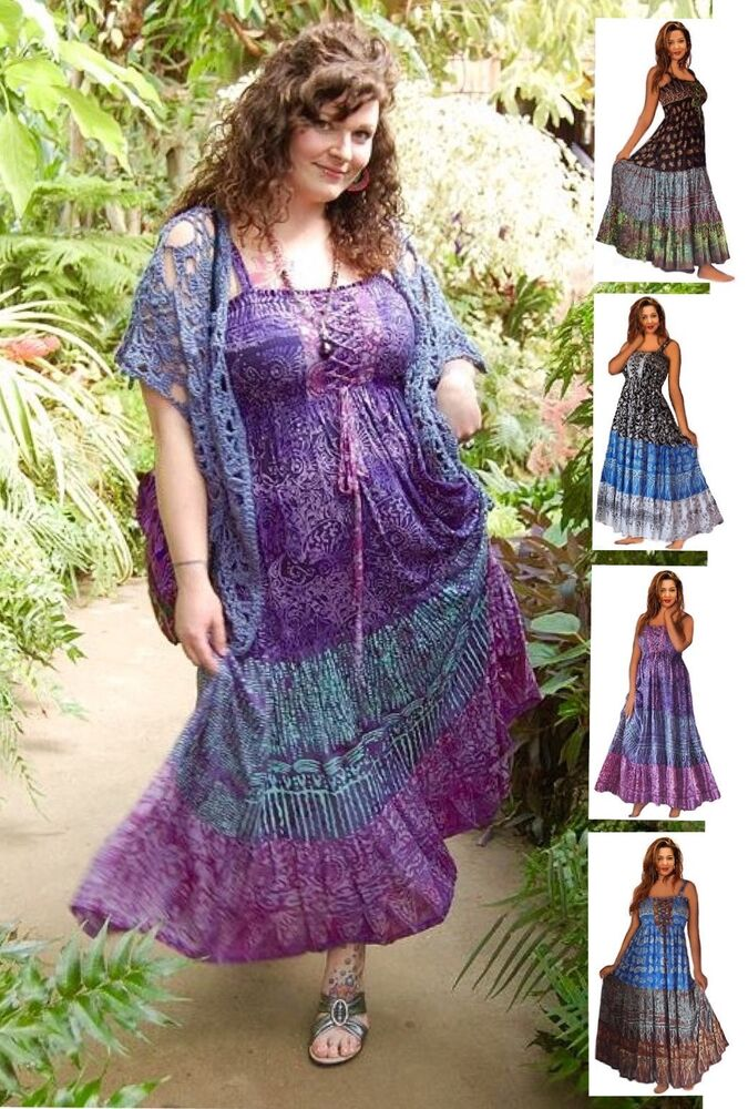 Boho Maxi Dress - Smocked Lacing Tiers - Gauzy Batik LotusTraders ...