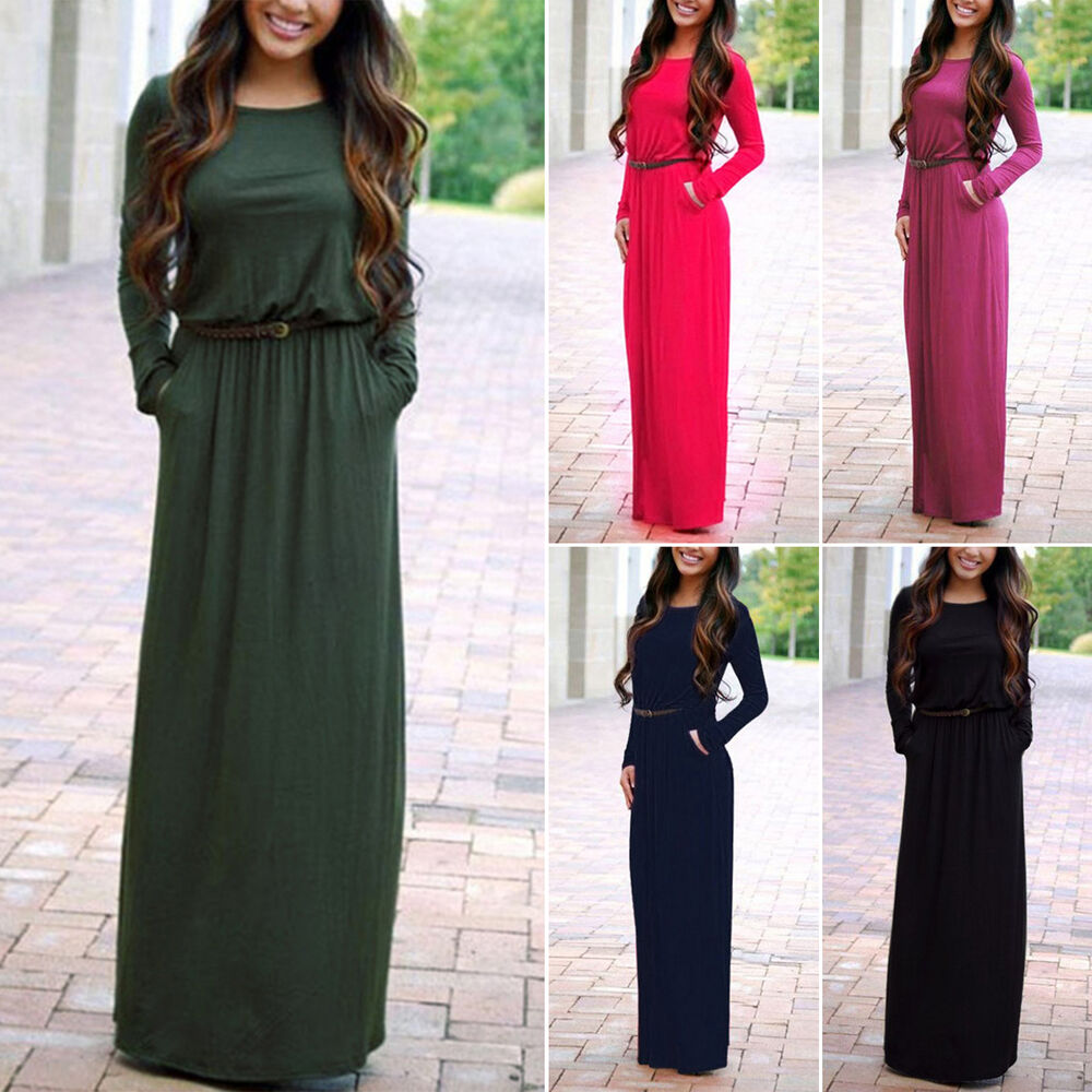 3c43c6f5ccb Details about Womens Boho Long Sleeve Pocket Maxi Dress With Belt Party  Evening Cocktail Dress