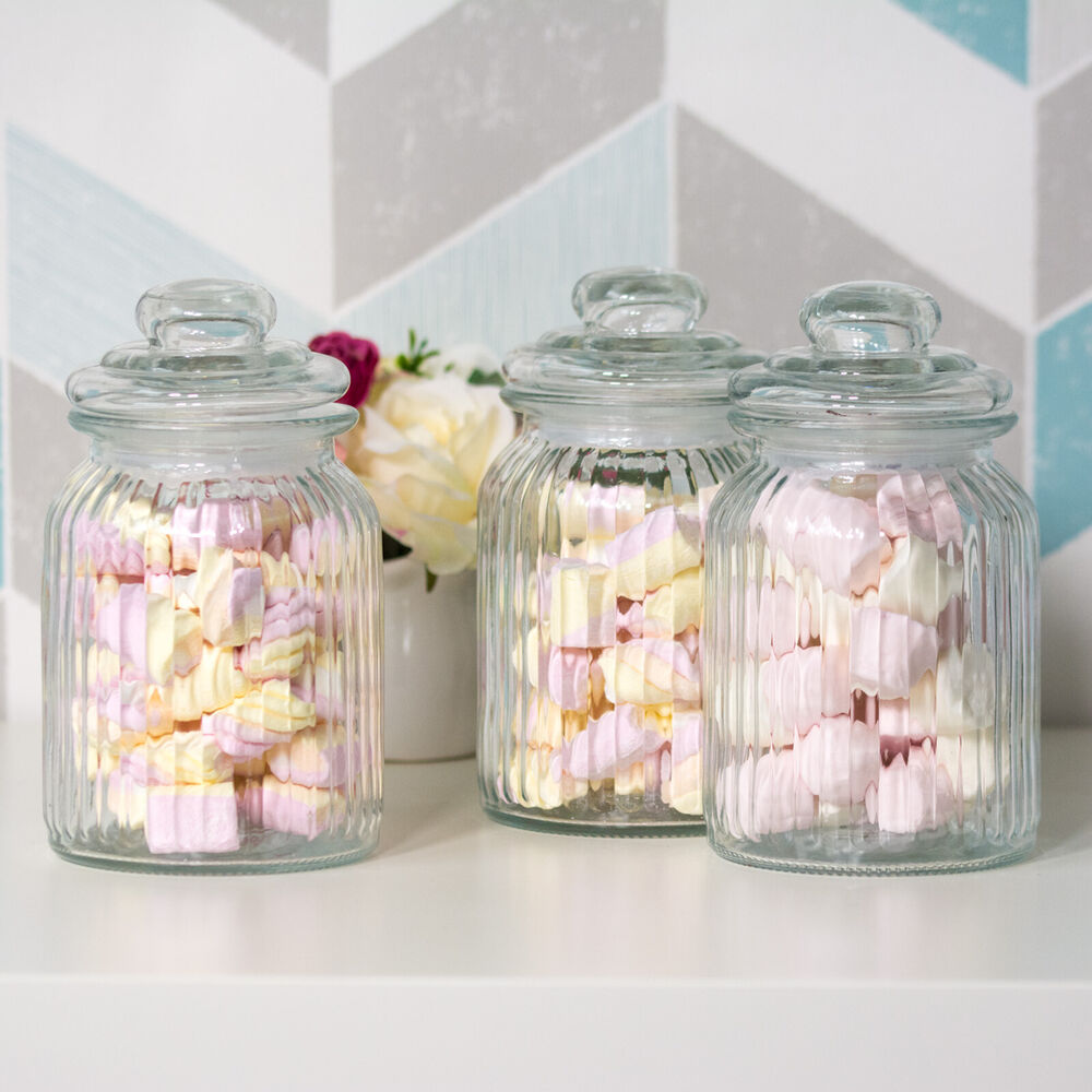 3 X 990ml Glass Vintage Sweet Jars Wedding Decoration Tea Coffee