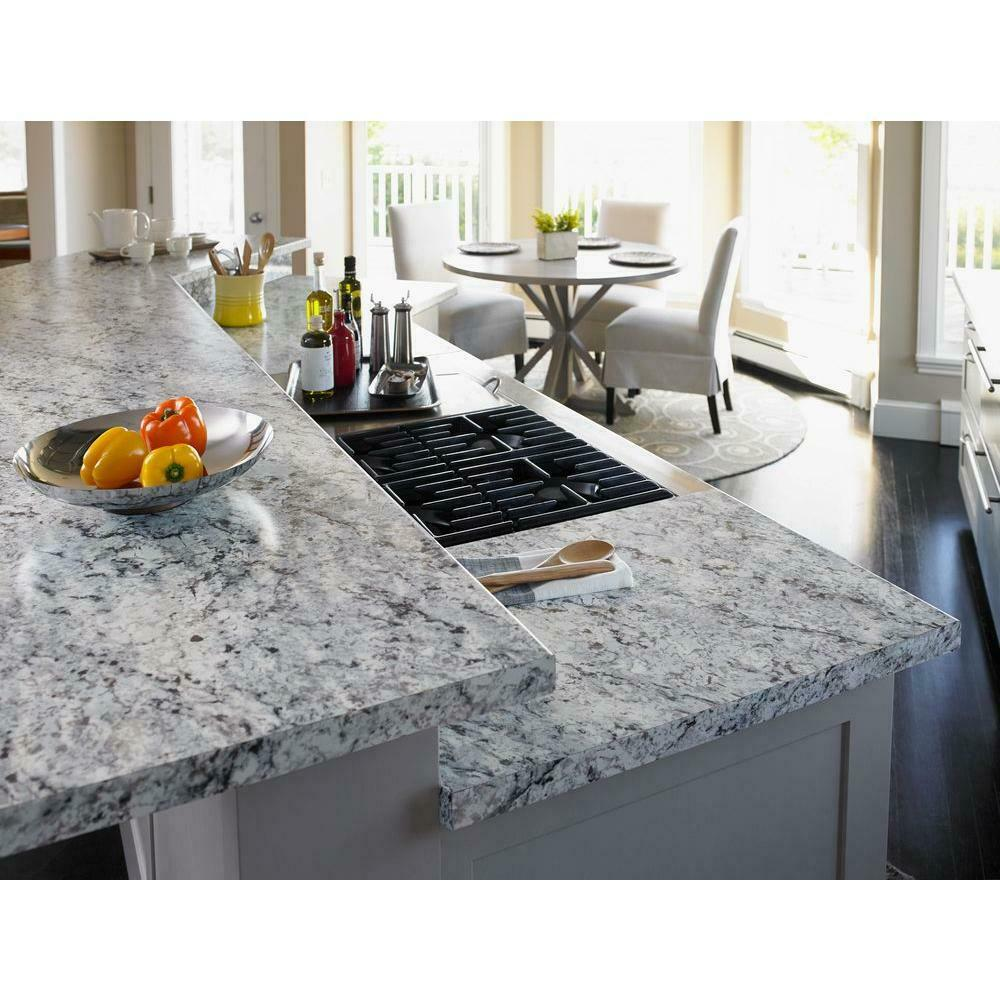 5 Ft X 12 Ft Laminate Sheet In White Ice Granite With