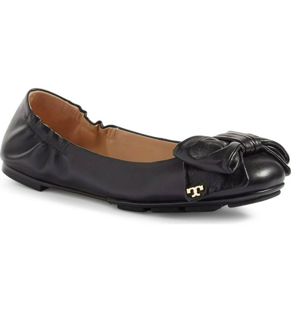 672b6f32ad480 Details about BRAND NEW WOMEN S TORY BURCH (46308) DIVINE BOW DRIVER BALLET  FLAT LEATHER SHOE