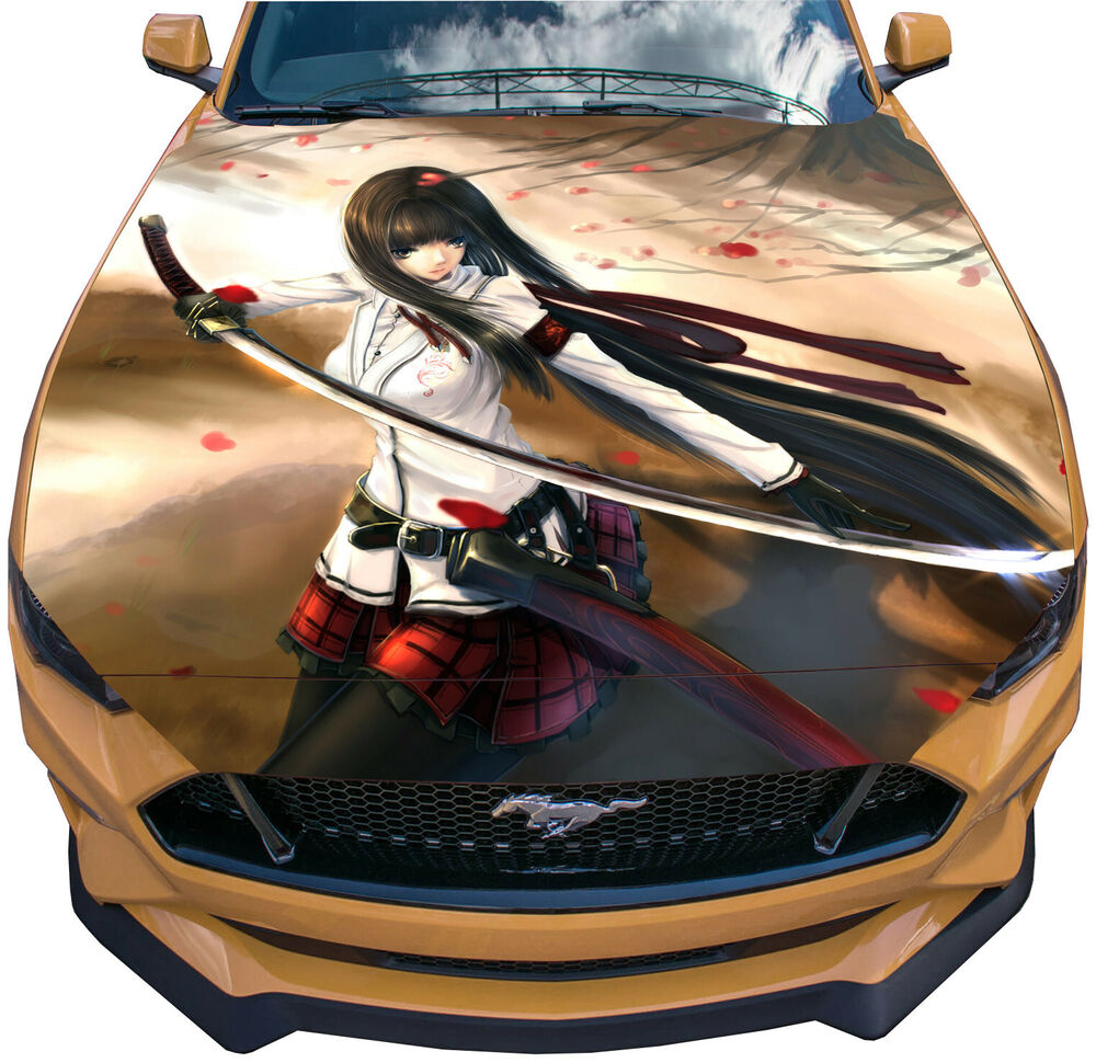 Details about vinyl decal anime sword girl car hood wrap full color graphics custom sticker